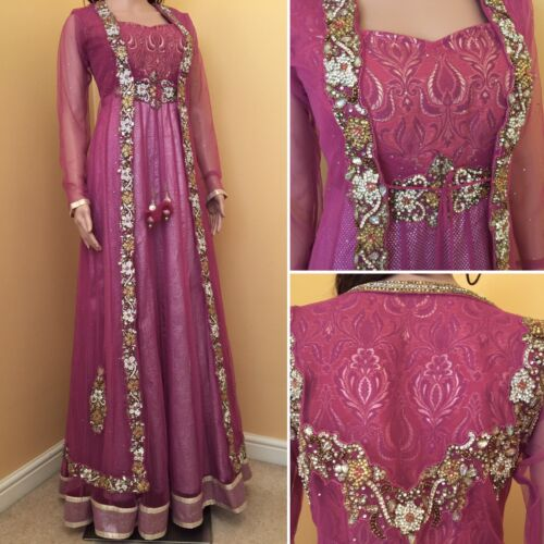 Liquidation Made asiangown, Anarkali, salwar Costume. UK Taille 8 Poitrine 36, longueur 60 afficher le titre d'origine
