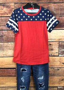 Womens-4th-Of-July-Half-Sleeve-Stars-And-Stripes-Tee-T-Shirt-Red-Sz-L-White-Blue