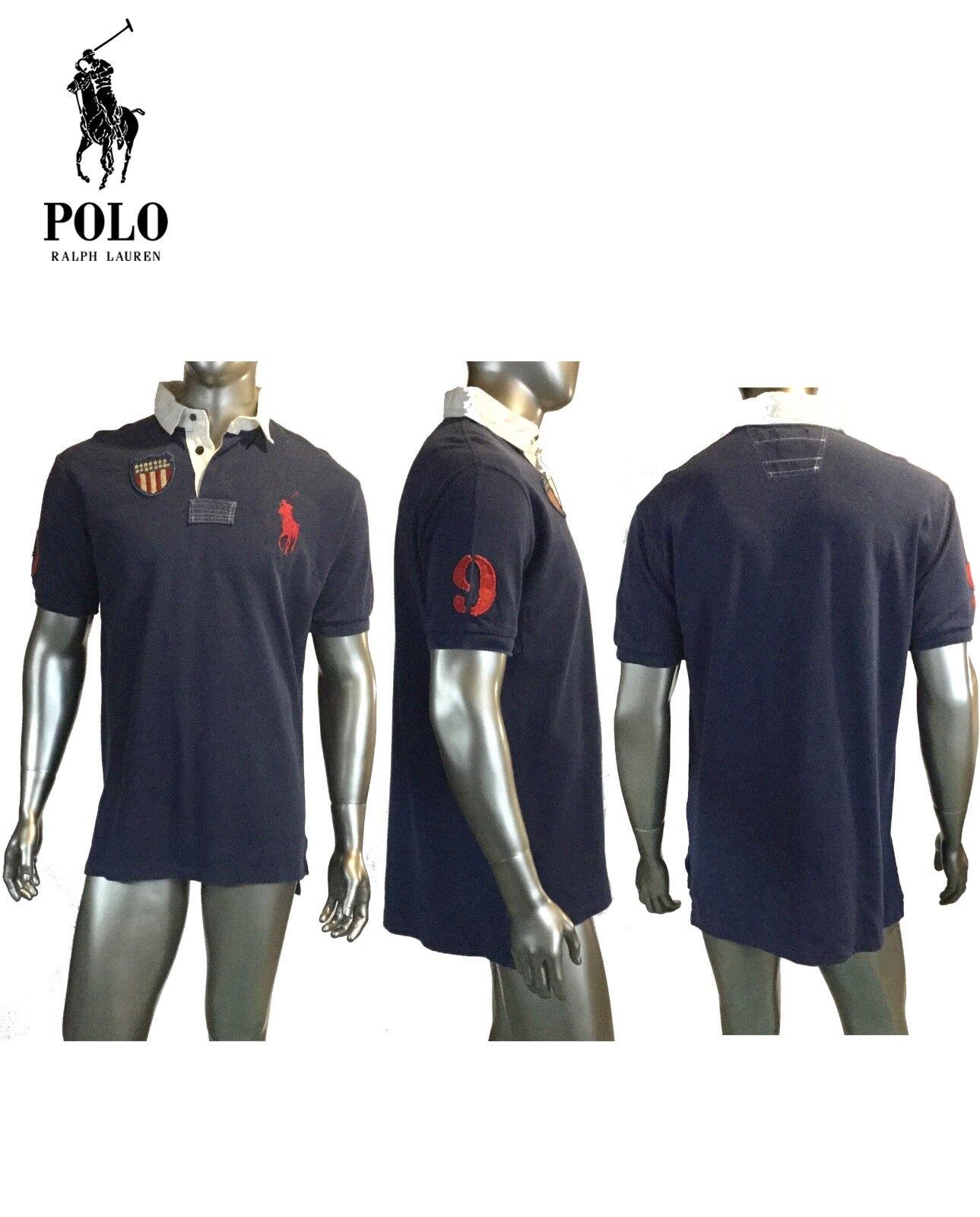 Vintage Ralph Lauren, Mens 90's Navy Polo Shirt Rugby,USA Big Pony, L