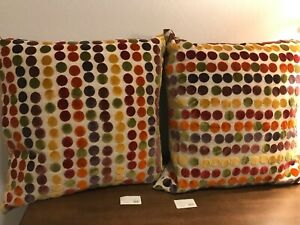 NWT-264-each-x2-Ryan-Studio-Designer-Pillows-multicolor-polka-dots-22x22-034