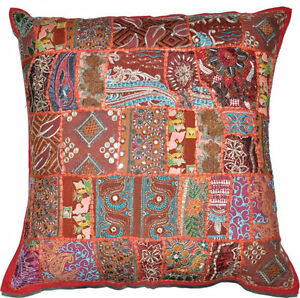 24x24 Throw Pillows Sofa Embroidered Indian Pillow Cushion Cover
