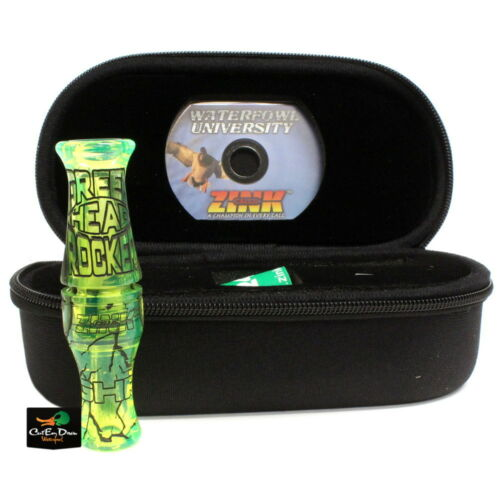 ZINK CALLS GREENHEAD ROCKER DOUBLE REED ACRYLIC DUCK CALL INTERFERENCE GREEN
