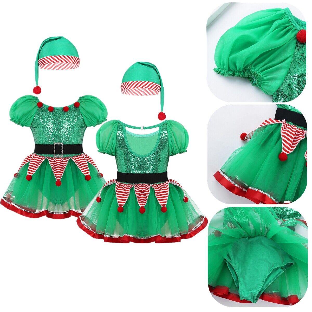 Kids Girls Christmas Elf Tutu Dress Clown Elves Dress Sequined Peplum Costumes