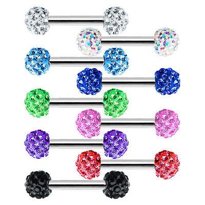 Pair of Nipple Ring Body Jewelry Barbells Round Ferido Ball 16G Barbell