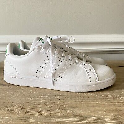 Adidas Neo Cloudfoam Shoes Advantage Clean Leather White Green Mens Size 11.5 | eBay