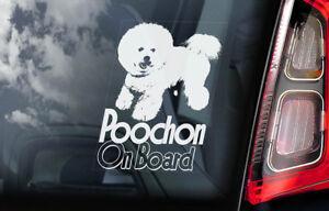 Poochon-On-Board-Auto-Finestrino-Adesivo-Bichon-Frise-Mix-Cane-Firmare-V01