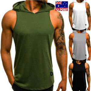 Gym-Men-Sleeveless-Vest-Bodybuilding-Hooded-Tank-Top-Muscle-Clothing-T-Shirt-AU