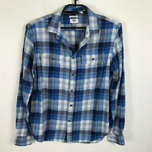 Old-Navy-Flannel-Shirt-Mens-Size-M-Regular-Fit-Blue-Plaid-Long-Sleeve-Cotton