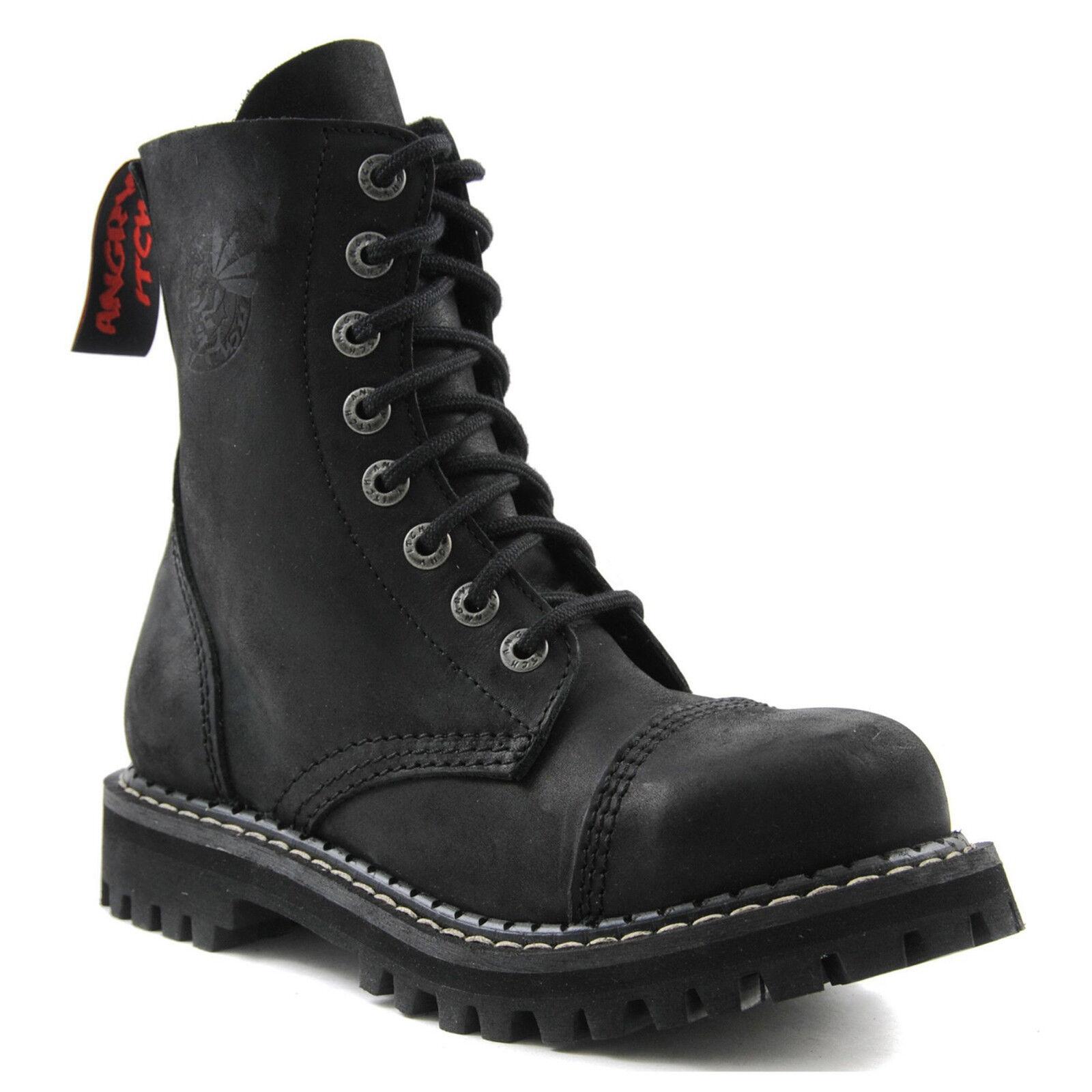 Angry Itch - Vintage 8-Loch Light Stiefel AI08/VBL/LE Vintage - Black Ranger Armee Leder V a63a50