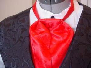 Puff Tie Mans Cravat Ascot Old West Red Rose Satin Brocade Steampunk