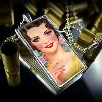1930's Vintage Beauty Flapper Pin-up Girl Sterling Silver Retro Glass Necklace