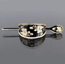 Koreana Rose Black Bun Hair Holder Barrette Clip Pin B189