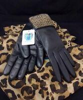 Portolano Women's Black Leather/animal Print Suede Gloves W/cashmere Lining-6.5