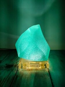 Andara Crystal Cutting Aqua Blue bubble 2102gr with base, lamp & dimmer