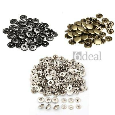 50x Metal Press Studs Sewing Buttons Snap Fasteners Bronze Sewing Craft Retro
