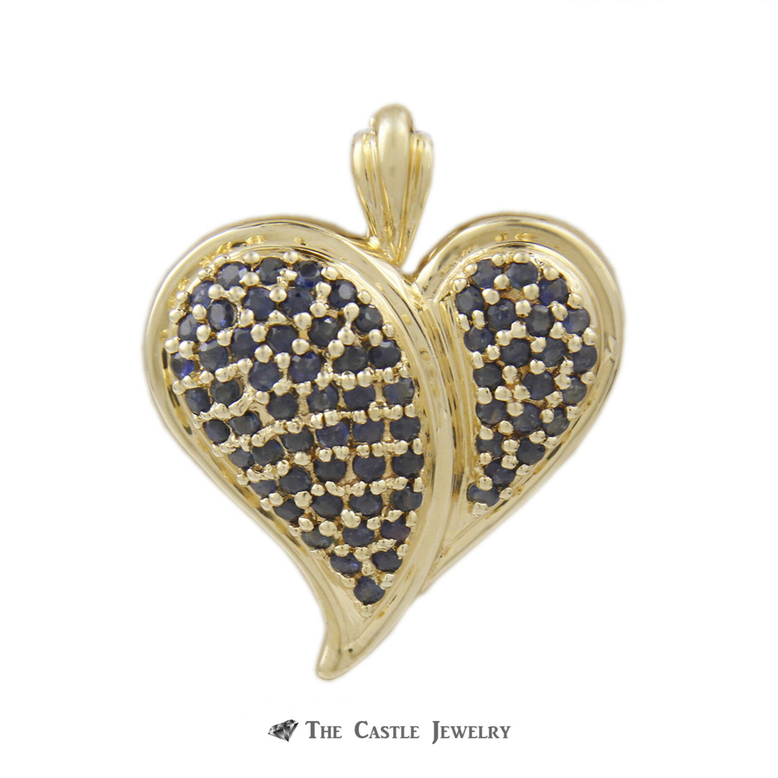 Round Sapphire Cluster Heart Pendant & Pin in 14k Yellow gold