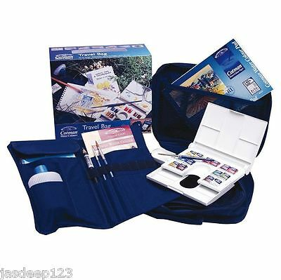 Winsor and Newton Travel Bag with 14 half pan set box brushes water bottle pad