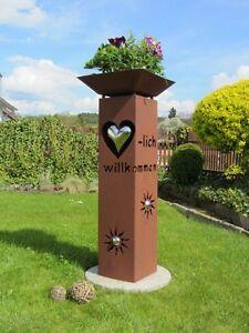 Saeule-Herzlich-willkommen-Rost-Herz-mit-Schale-Edelrost-Garten-Deko-Stele-Deko