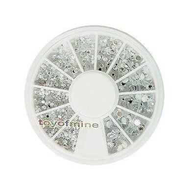 2000 1.5mm Clear Nail Art UV Acrylic Tips Rhinestones Glitters Wheel