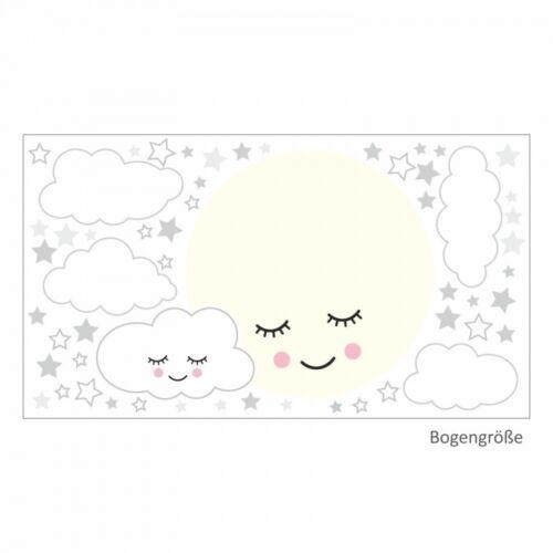 135 Wandtattoo Vollmond mit Wolken und Sternen grau weiß Kinderzimmer Baby Deko