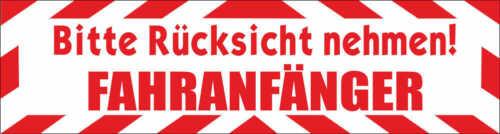 """Magnetschild Fahranfänger /""""Bitte Rücksicht nehmen/"""" KfZ Auto mit Rahmen 30x8cm"""