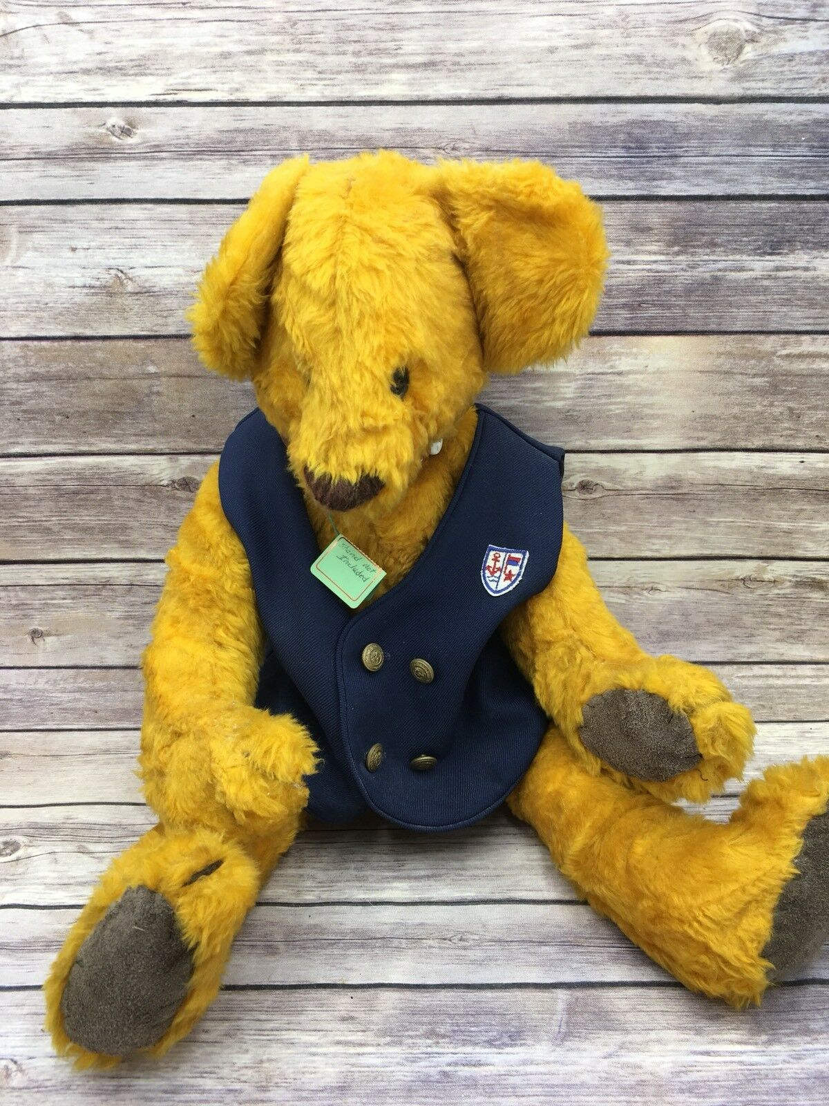 Large Handmade Marmalade Jointed Caramel Button Bear With Vest 22