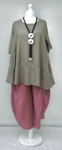 """PLUS SIZE SUMMER RELAXED COTTON MIX 2 POCKETS A-LINE TUNIC*TAUPE* BUST UP TO 50"""""""