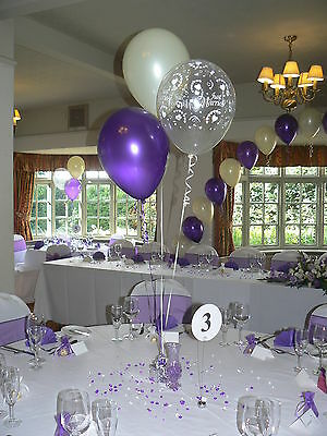 Wedding Balloons - 10 Table Decorations - Hearts Design - Many Colours
