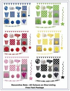 Polka-Dots-Party-Tableware-Birthday-Decoration-Yellow-Red-Black-Pink-Blue-Green