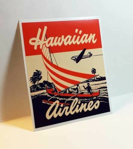 Luggage Label Vinyl Sticker Hawaiian Airlines Vintage Style Decal