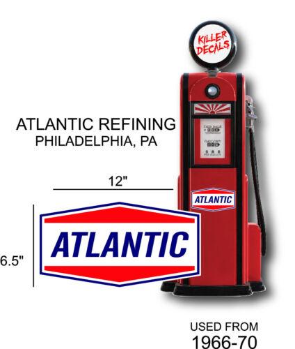 "LUBSTER 12/"" 1966-70 ATLANTIC GASOLINE OIL VINYL DECAL OIL CAN GAS PUMP"