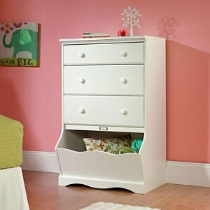 Kids Bedroom Furniture White Dresser Toy Box Girls Armoire Storage ...