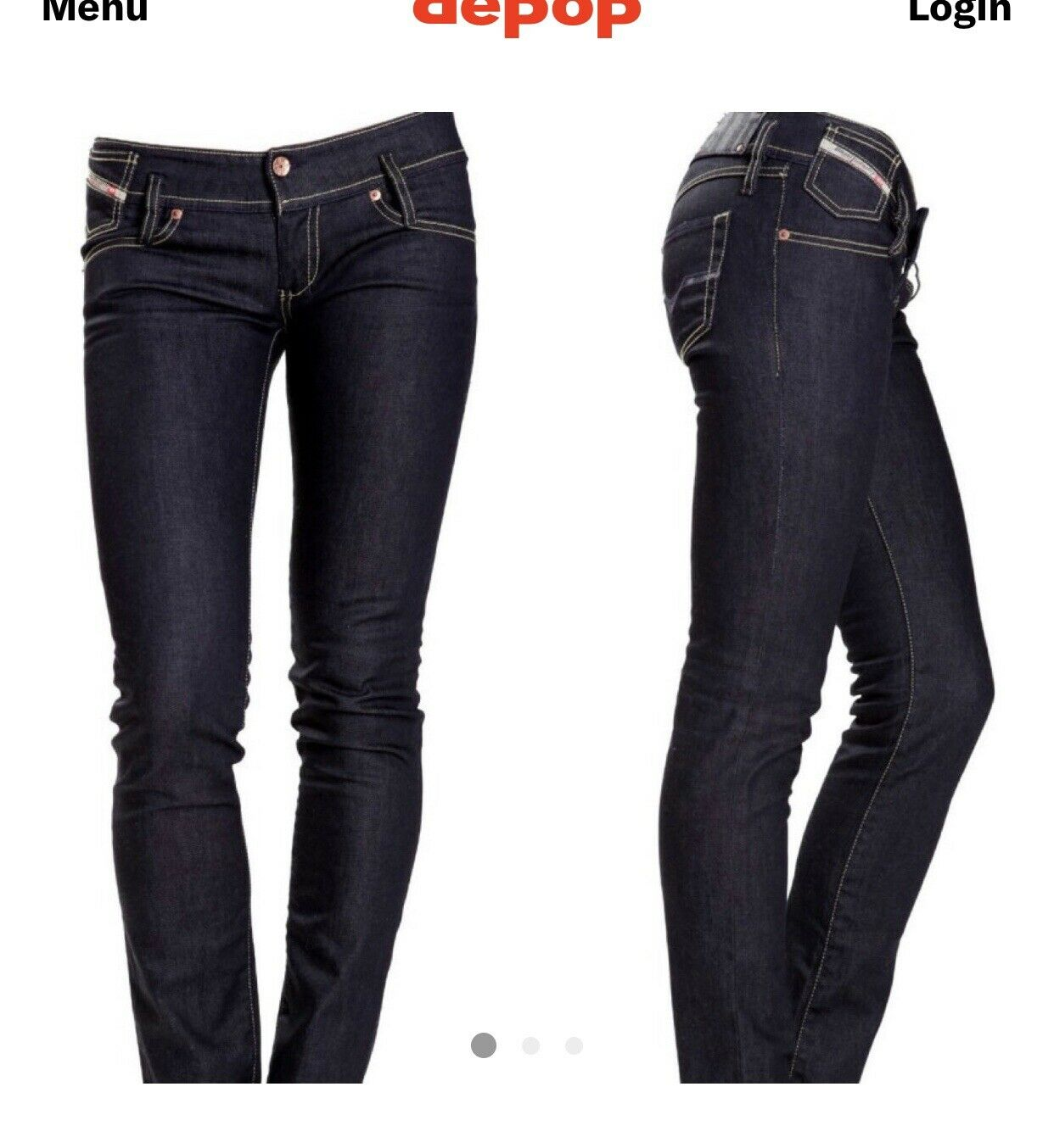 Women's Diesel Matic Straight Jeans Dark Wash Low Rise Size 26 Stretch Slim Pant