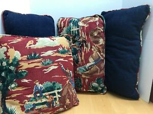 Lot-Of-4-Red-Western-Barkcloth-50-039-s-Retro-Cowboy-Bronco-Rodeo-Pillow-Set