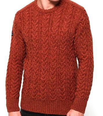 Superdry Men's Jacob Crew Neck Cable Knit Jumper Orange Twist Sizes: XL XXL   eBay