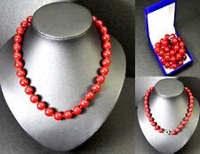 Rot Jade Perlenkette Kette Halskette Collier Strang  L48 Handarbeit Edelstein 12