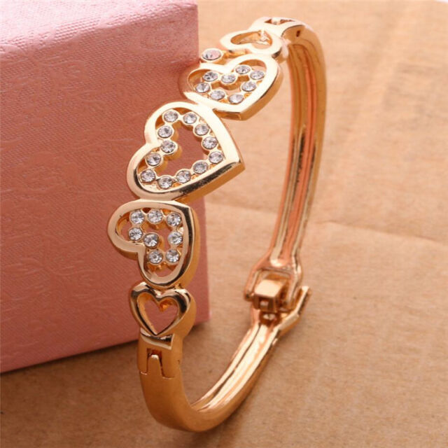 New Fashion Women Lady Gold Plated Crystal Cuff Bangle Love Heart Charm Bracelet