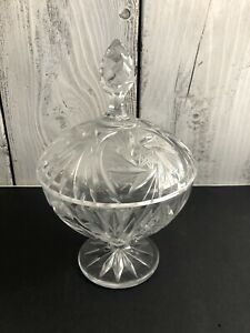 Vintage-Crystal-Clear-9-034-Round-Compote-Candy-Dish-with-Lid-Large-Sawtooth-Design