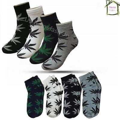 New 6 12 Pairs Mens Womens Cotton Marijuana Weed Leaf Casual Low Cut Socks 9-13