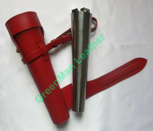 NEW SADDLE HIP STEEL FLASK /& THICK LEATHER CASE FOX HUNTING BATON BROWN