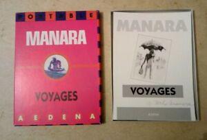 Coffret-Manara-Voyages-signe-et-numerote-531-650-Portable-10-carte-21x16-cm-1986