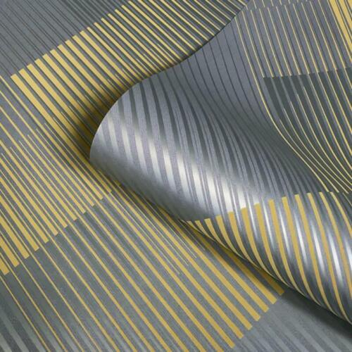 Géométrique Rayures Jaune Métallique Papier Peint Effet Daim Belgravia DECOR Hoxton