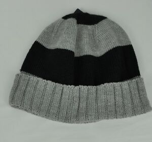 U.S. Polo Assn Beanie Knit Cuffed Strips Grey Black One size Winter ... 12ba5e3965d