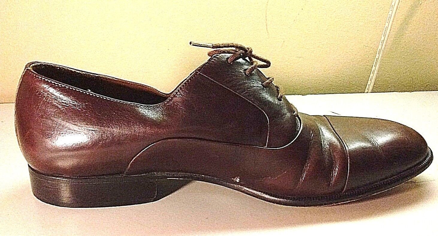 Steeplegate Men Brown Leather Oxford Cap Toe Formal Dress shoes Size 9 D