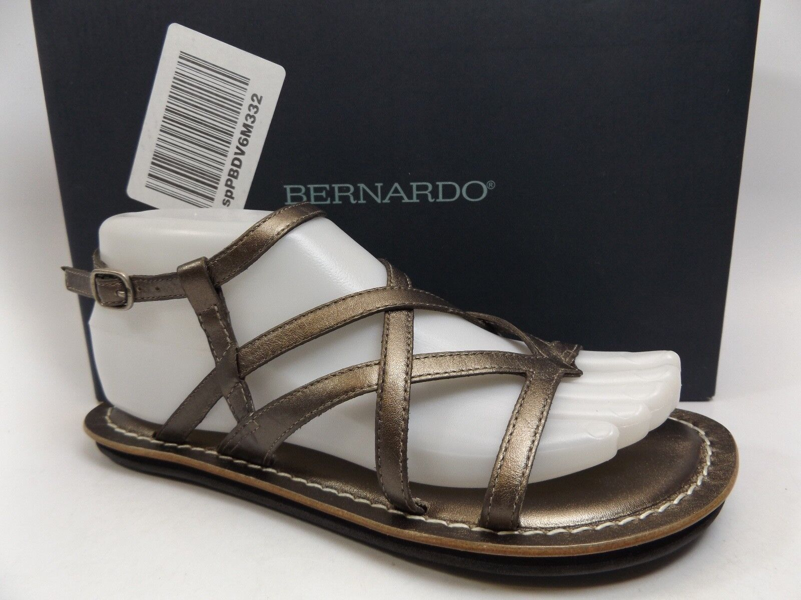 Bernardo Cara PEWTER ANTIQUE CALF Flats Casual Sandals Women SZ 6.5 M NEW D8101