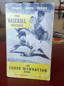 Details about 1956 Dodgers Yankees Giants trifold Baseball home game  schedule good condition