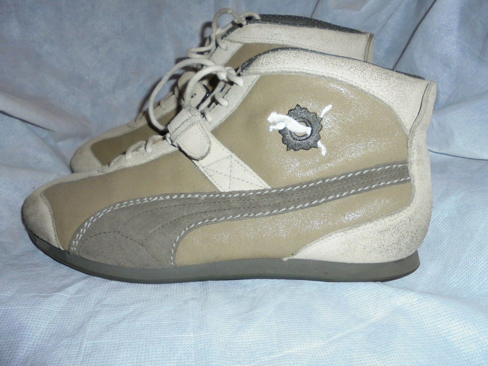 PUMA MEN LIGHT OLIVE LEATHER LACE UP ANKLE TRAINERS SIZE UK 11 EU 46 US 12 VGC