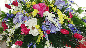 Ray-of-Colors-Bohemian-Memorial-Casket-Spray-Silk-Ban-of-Flowers-Headstone-Grave
