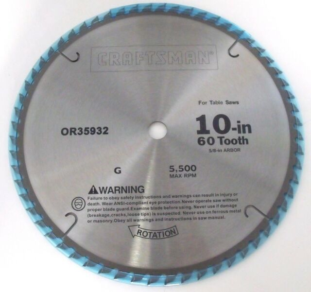 Craftsman 35976 10 x 60T & 10 x 18 T Carbide Saw Blade 2 Blades