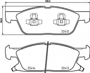 Scheibenbremse für Bremsanlage Vorderachse BREMBO P 24 188 Bremsbelagsatz